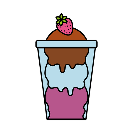 glass cup with ice cream balls and strawberry tasty vector illustration Illustration