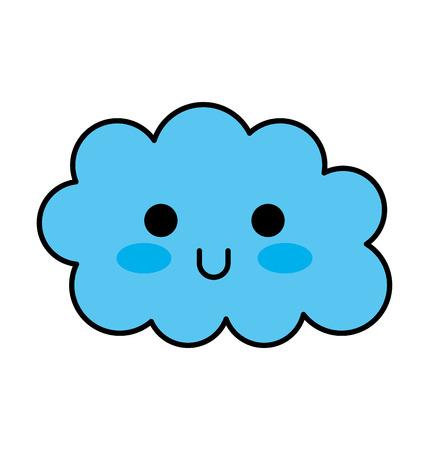 kawaii 구름 재미있는 만화 장식 벡터 일러스트 레이션