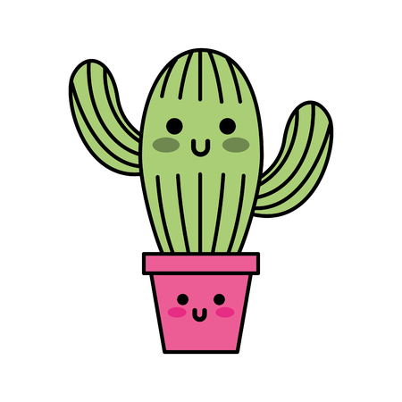 kawaii potted cactus flora decoration natural vectotr illustration