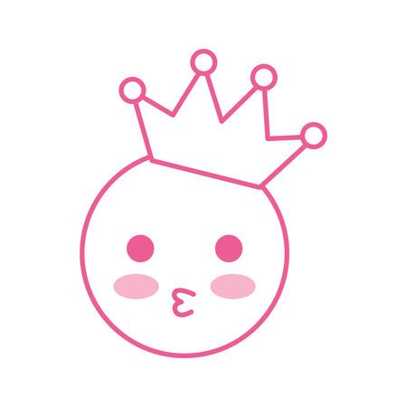 Kawaii sonrisa besando ilustración de dibujos animados de corona feliz vector Foto de archivo - 86490096