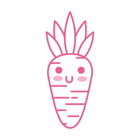 kawaii carrot vegetable funny food cartoon vector illustration