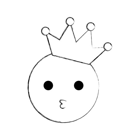 kawaii smile kissing crown happy cartoon vector illustration Reklamní fotografie - 86490131