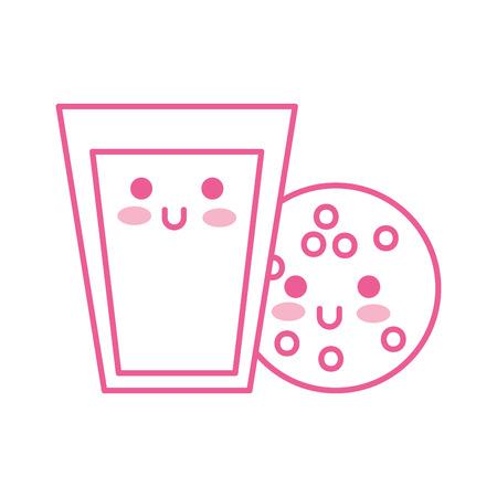 kawaii glas melk en cookie voedsel cartoon vectorillustratie