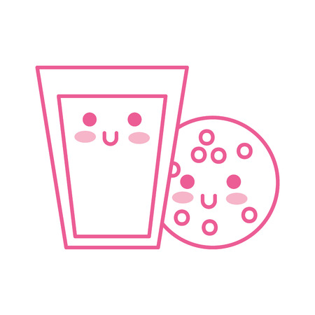 kawaii glass milk and cookie food cartoon vector illustration