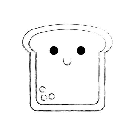 Kawaii Scheibe Brot lustige Cartoon Vektor-Illustration Standard-Bild - 86490148