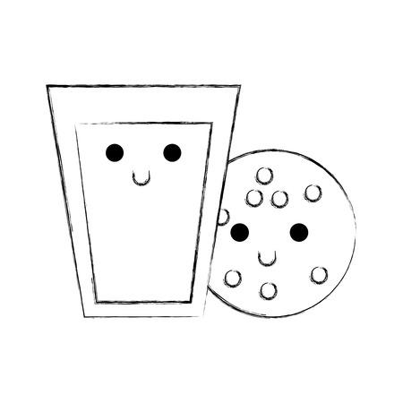 카와이 유리 우유와 쿠키 음식 만화 벡터 일러스트 레이션 일러스트