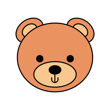 cute bear teddy face toy gift vector illustration Banco de Imagens - 86490150