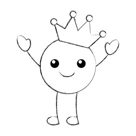 kawaii smile kissing crown happy cartoon vector illustration Reklamní fotografie - 86490163