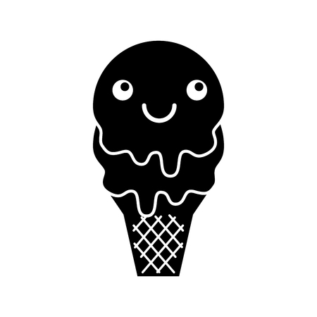 kawaii sweet ice cream cold flavor fresh tasty vector illustration