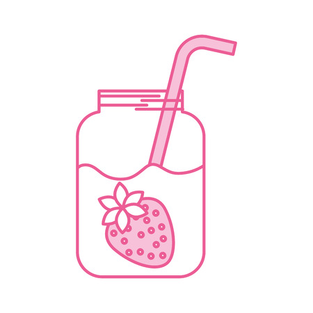 わら飲料新鮮なベクトル図とイチゴ ジュースのガラス瓶