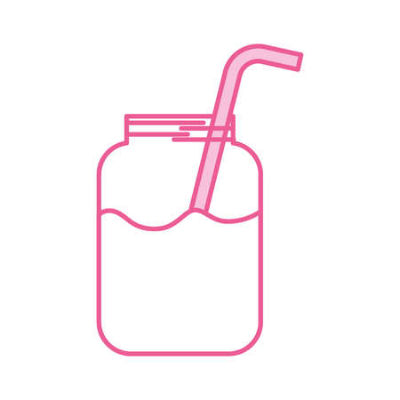 glass jar of juice with straw beverage fresh vector illustration