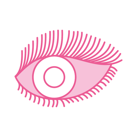 eye look eyelashes vision cartoon vector illustration