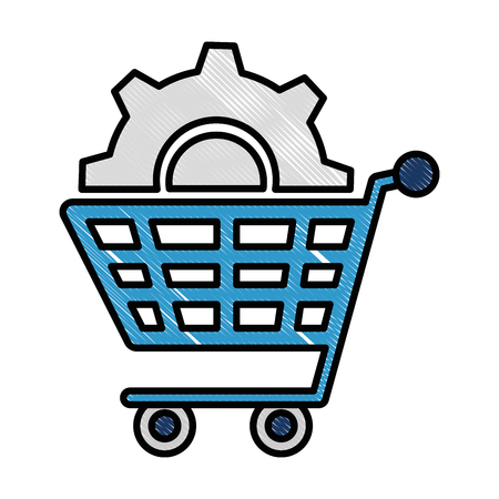 shopping cart with gears vector illustration design