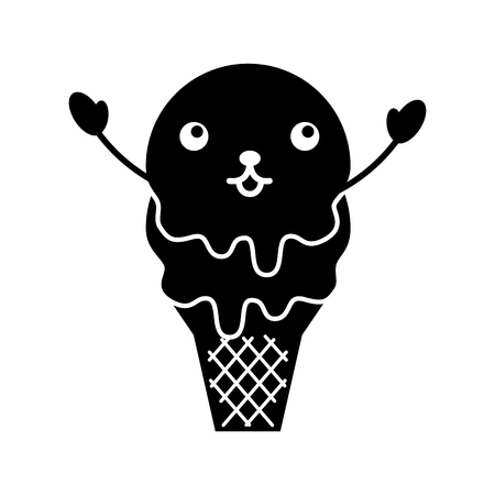 kawaii sweet ice cream cold flavor fresh tasty vector illustration