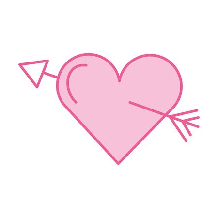 pink love heart arrow romance passion vector illustration