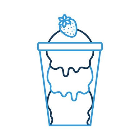 glazen beker met ijsballen en aardbeien lekkere vector illustratie Stock Illustratie