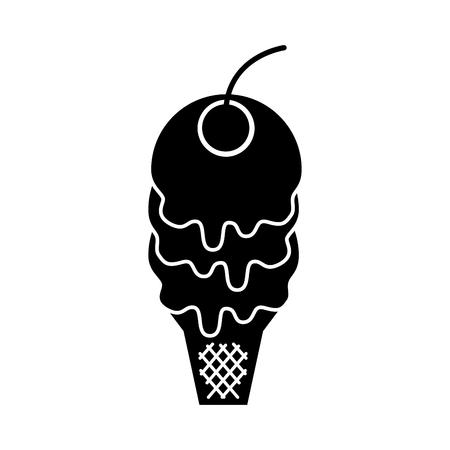 cone of ice cream cherry delicious cartoon vector illustration