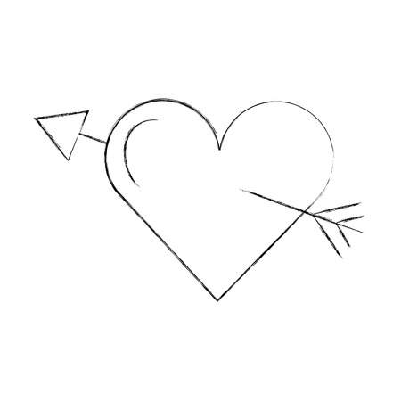 love heart arrow romance passion vector illustration