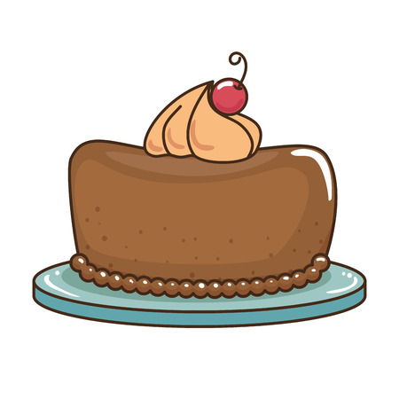 delicious pudding with cherry bakery product vector illustration design
