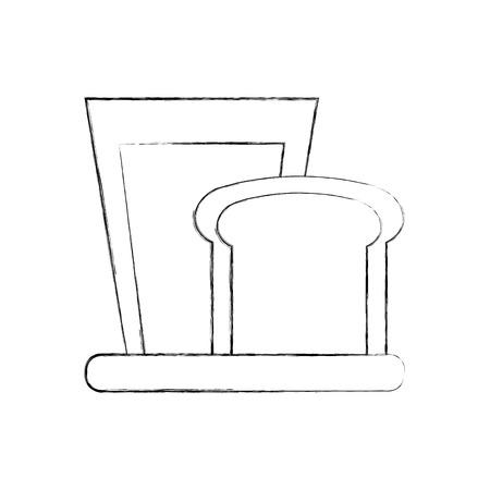 Frische Vektorillustration des Frühstücksglasmilch- und -scheibenbrotes Standard-Bild - 86490335