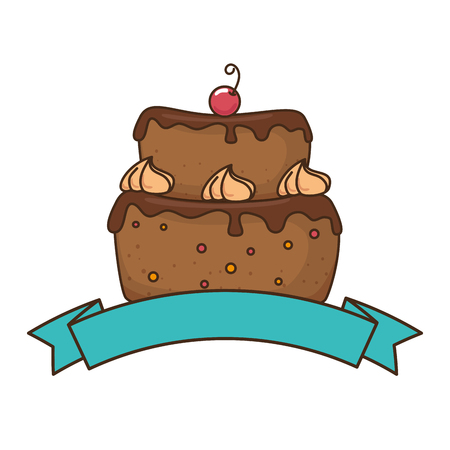 delicious cake with cherry vector illustration design Ilustração