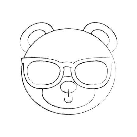 귀여운 곰 선글라스 테디 얼굴 장난감 선물 벡터 일러스트와 함께 일러스트