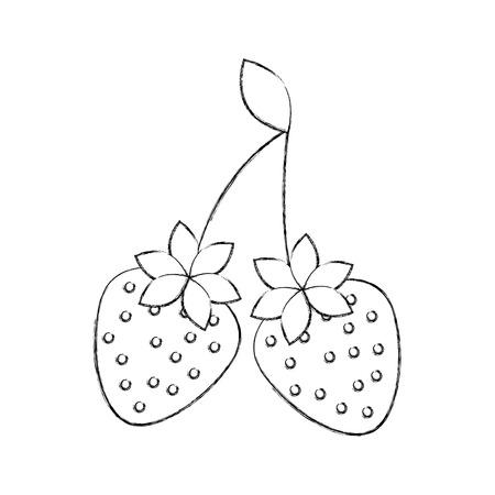 おいしい 2 イチゴ果実葉有機ベクトル図