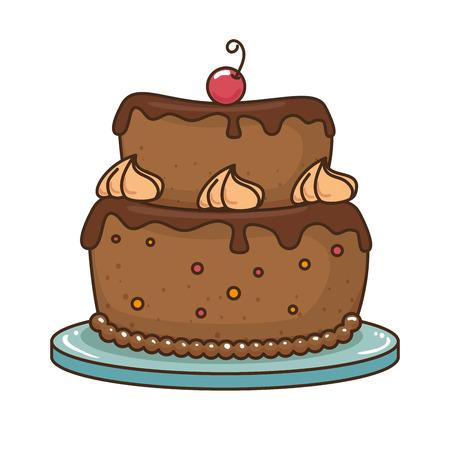 체리 벡터 일러스트 레이 션 디자인으로 맛있는 케이크