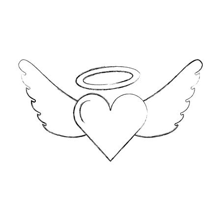 romantic heart love wings valentine tattoo vector illustration