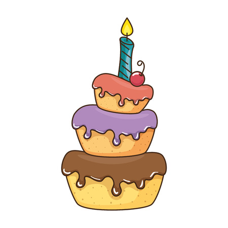 delicious cake with candle vector illustration design Stock Vector - 86490359