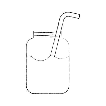 glass jar of juice with straw beverage fresh vector illustration