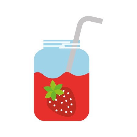 glass jar of juice strawberry with straw beverage fresh vector illustration