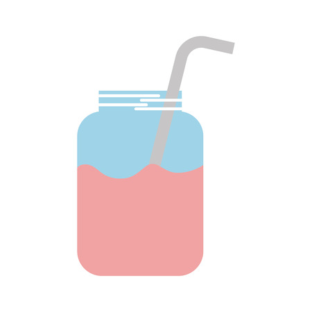 glass jar of juice with straw beverage fresh vector illustration Stok Fotoğraf - 86490388