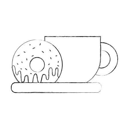 coffee cup and sweet donut in dish food vector illustration