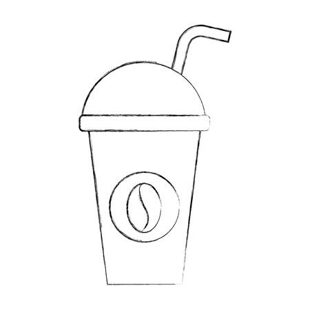 ペーパーコーヒーカップ使い捨てテイクアウト飲料ベクターイラスト  イラスト・ベクター素材
