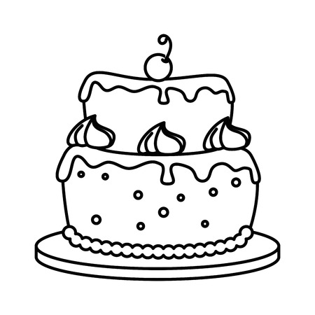 delicious cake with cherry vector illustration design Illustration