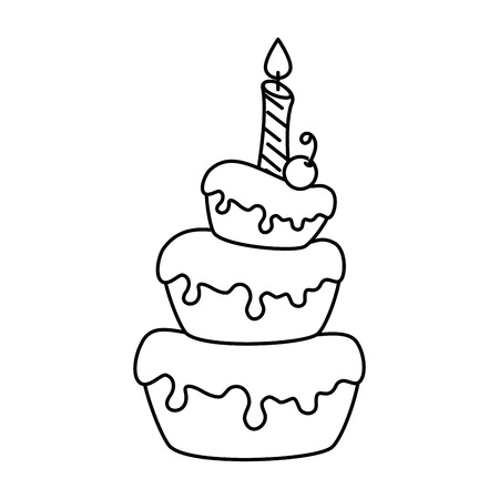 delicious cake with candle vector illustration design