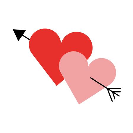 2 つの愛心ロマンチックなキューピット バレンタイン画像ベクトル イラスト  イラスト・ベクター素材