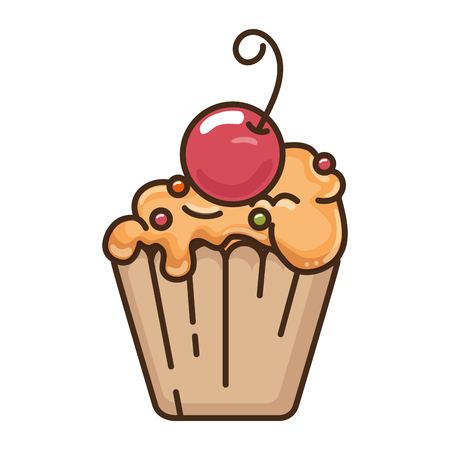 delicious cupcake with cherry vector illustration design