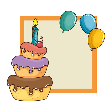 delicious cake with candle and balloons air vector illustration design Ilustrace