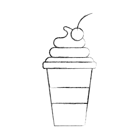 cup of ice cream cherry cartoon dessert vector illustration Illustration