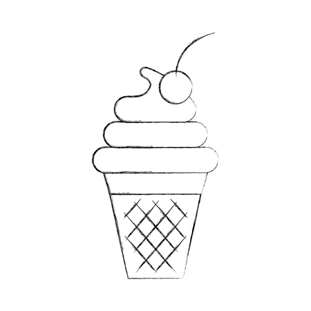 cup of ice cream cherry cartoon dessert vector illustration Çizim