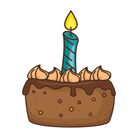delicious cake with candle vector illustration design Imagens - 86490450
