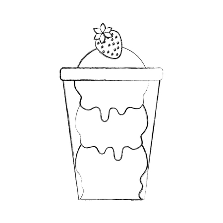 glass cup with ice cream balls and strawberry tasty vector illustration Banco de Imagens - 86490456