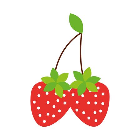 おいしい2つのイチゴの果実の葉有機ベクターイラスト  イラスト・ベクター素材