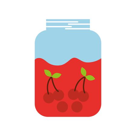 ガラスの瓶とチェリー フルーツ飲料新鮮なベクトル図
