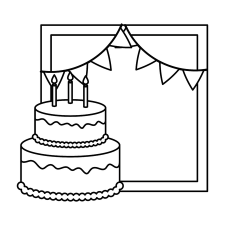 delicious cake with candle and garlands vector illustration design Illusztráció