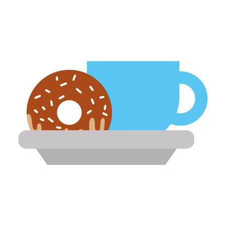 커피 컵과 접시 음식 벡터 일러스트 레이 션에 달콤한 도넛