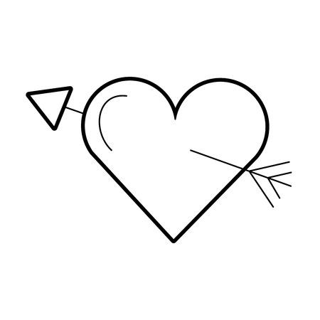 love heart arrow romance passion vector illustration