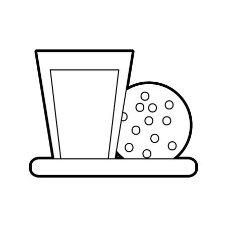 sweet cookie and glass milk breakfast vector illustration